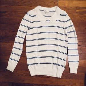 Madewell White & Blue Stripe Sweater
